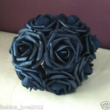 100 Navy Blue Roses 3 Artificial Flowers For Wedding Bouquet Centerpieces Decor