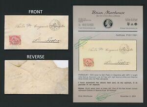1872 PARAGUAY COVER RARE TO SAN PEDRO ARGENTINA 1r BRT ROSE LION MOOREHOUSE CERT