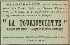 Y7616 Bicyclette sans chaine LA TOURICYCLETTE - Pubblicità d'epoca - 1908 Old ad