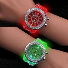 Fashion Women Geneva LED Backlight Crystal Quartz Wrist Watch Sport Waterproof