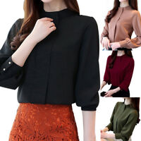 Women Elegance Chiffon Blouse Long Sleeve Office Lady Shirts Autumn Work Tops TP