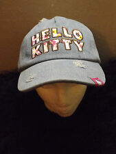 Hello Kitty baseball cap distressed embroidered country flowers denim adjustable