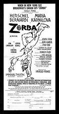"Kander & Ebb ""ZORBA"" Herschel Bernardi / Maria Karnilova 1968 Broadway Flyer"