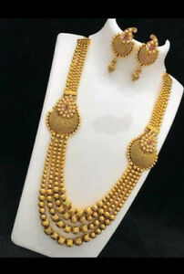 Indian Long Chain Necklace Set Bollywood Bridal Earrings Gold Plated Fashion