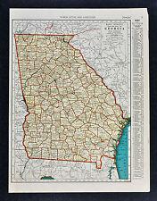 c. 1935 McNally Map - Georgia - Atlanta Athens Savannah Columbus Rome Dalton GA