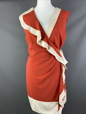 Coast Size UK 16 Orange Ivory Cream Ruffle Wrap Dress Tie Waist Wedding Guest
