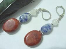 Edle Ohrhänger Ohrringe Earrings rote Koralle mit Sodalith & Ohrhaken Brisuren