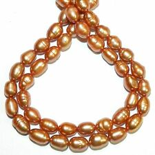 """NP580f Light Coppery Brown 8mm Cultured Freshwater Rice Pearl Beads 16"""""""