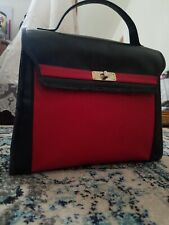 Vintage AUTH Givenchy Black & Red Top Handle Two Tone Leather Kelly 28cm Bag