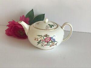 Vintage wedgwood bone china floral tea-pot.