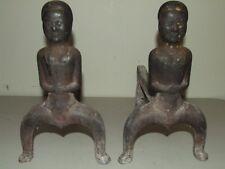 Antique 1800s Civil War Era Black Americana Figural Cast Iron Fireplace Andirons