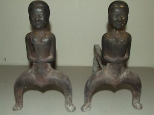 Antique 1800s Civil War Era Black Americana Figural Cast Iron Fireplace Andirons