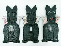 Vintage Switch Plate Cover Scottish Terrier Scottie Dog Black Plastic Light Wall