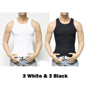 3, 6 PACK Men Tank Top T-Shirts Cotton A-Shirt Wife Beater Ribbed GYM Undershirt