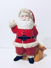 Vtg 1973 Christmas Duncan Ceramic Santa Planter Candy Cane Holder Spaghetti Trim