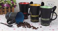 Juego de 4 tazas de café con Cuchara Té Café con Leche Tazas Vaso Taza de Cerámica Bebidas Calientes