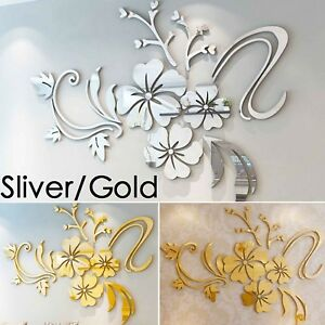 Flower Mirror Tiles Wall Stickers Self Adhesive Decor Stick On Art Home Decal UK