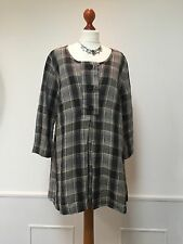 FLAX  Jeanne Engelhart grey / beige check top  / shirt 100% LINEN Medium NEW