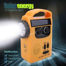 Solar Powered LED Camping Hand Crank Flashlight Radio USB Phone Charger CO