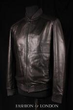 VENOM Mens Jacket Black Perforated Italian Lambskin Leather Summer Bomber Jacket