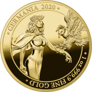 """Germania 2020 100 Mark """"Lady Germania"""" 1 Oz Gold Proof Coin"""