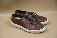 NEW $150 ECCO  Soft 7  Leather Mens Casual Sneakers Shoes Brown Size 42 (US 9)
