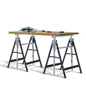2 x Telescopic Builders Trestle Work Bench Carpenter Folding Saw Horse Tools
