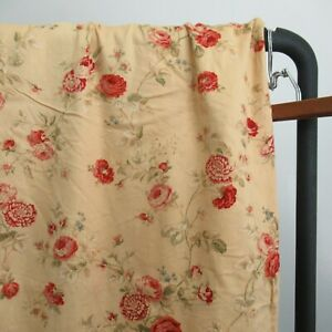 Waverly SONATA HARBOR HOUSE Gold Rose Floral Fabric Shower Curtain 69x70""