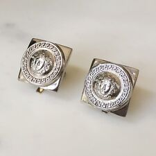 GIANNI VERSACE Medusa head & Greek Key square clip on silver-tone earrings