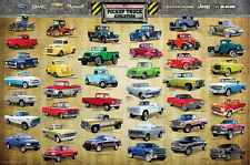 History of AMERICAN PICKUP TRUCKS EVOLUTION Wall Art POSTER - 41 Classic Rigs