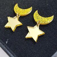 1 Pair Women Acrylic Resin Star Moon Earring Boho Dangle Drop Stud Earring