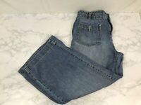 Chaps Denim Wide Leg Capri Jeans Womens 8 Medium Blue Wash Flare Pants L