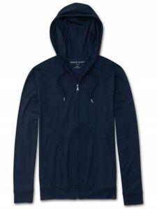 DEREK ROSE MENS HOODIE - XL - JERSEY - RRP. £210  FULL-ZIP BASEL NAVY BLUE TOP