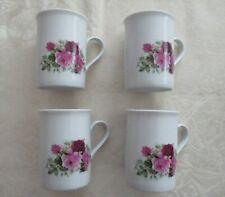 4 Kaffeebecher Porzellan mit Rosenmotiv - 10 cm hoch -