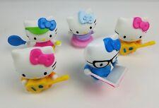 Lot 5 McDonald's Hello Kitty Wind-Up Bobble Toys Guitar Reading Hula Hoop Tennis