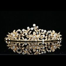 Bridal Wedding Floral Crystal Rhinestone Prom Gold Crown Tiara V656