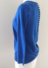 JCrew $228 Italian Cashmere Button-Back Sweater S Blue G3112 SPRING'17