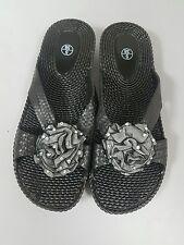 Ladies Black Size 5 Jelly Sandals Flower Diamante Soft Flip Flops Beach Shoes 38