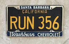 Washburn Chevrolet Dealer Santa Barbara, CA Restored License Plate Frame 1956+