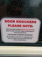 Novelty No Sales Man Cold Callers Door Knocker Canvassers Front Door Sign Plaque