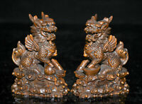 """4"""" Old Chinese Boxwood Wood Carving Dragon Qilin Beast Wealth Lucky Statue Pair"""