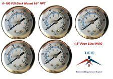 """5 Pack 1/8"""" NPT Air Pressure Gauge 0-100 PSI Back Mount 1.5"""" Face"""