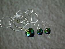 Crystal Heart ~ Green, Purple ~ Necklace (925) Earring Set