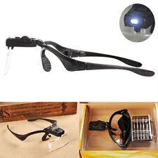 5pc Lens Lighted Head Eye Magnifier Glass Visor 2LED Light Magnifying Loupe Tool