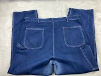 VTG 60s 70s 80s SEARS DARK DENIM CARPENTER WORK PANTS JEANS Men's Size 44x30