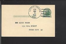 """LITTLE CREEK, DELAWARE 1935 GOVERNMENT POSTAL CARD. """"CHEMICAL CO.""""  KENT CO /O"""