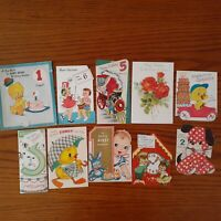 10pc Mixed Lot Vintage Birthday Greeting Cards 1950s Young Child Animal Arts