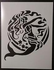"Tribal Artistic Mermaid and Moon 8.5"" x 11"" Custom Stencil FAST FREE SHIPPING"