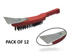 12x Heavy Duty Pro Wire Brush Metal Bristle Scrubbing Scraper Blade Rust Remover