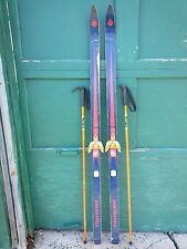"""VINTAGE HICKORY Wooden 63"""" Skis Has Original Red Blue Finish + Bamboo Poles"""